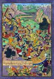 Bāburnāma (Chagatai/Persian: بابر نامہ;´, literally: 'Book of Babur' or 'Letters of Babur'; alternatively known as Tuzk-e Babri) is the name given to the memoirs of Ẓahīr ud-Dīn Muḥammad Bābur (1483-1530), founder of the Mughal Empire and a great-great-great-grandson of Timur. It is an autobiographical work, originally written in the Chagatai language, known to Babur as 'Turki' (meaning Turkic), the spoken language of the Andijan-Timurids.<br/><br/>  Because of Babur's cultural origin, his prose is highly Persianized in its sentence structure, morphology, and vocabulary, and also contains many phrases and smaller poems in Persian. During Emperor Akbar's reign, the work was completely translated to Persian by a Mughal courtier, Abdul Rahīm, in AH 998 (1589-90 CE).<br/><br/>  This painting depicts the Mughal emperor Babur with his brave companions confronting their enemies in the mountains of Kharābūk and Pashāmūn. The text refers to Babur and his few men deciding to charge the enemy.